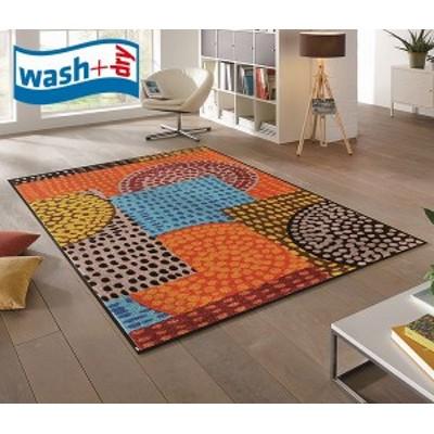 ラグマット wash+dry C013I Ethno Pop 110×175cm 柄物 おしゃれ 滑り止めラバーつき(代引不可)【送料無料】