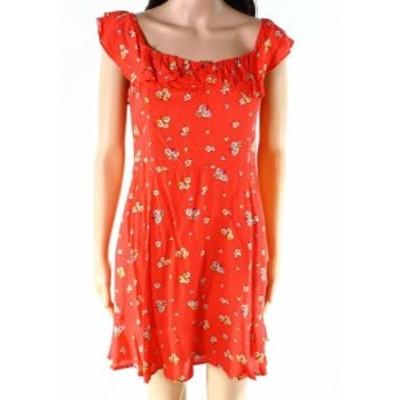 Lush ラッシュ ファッション ドレス Lush NEW Red Womens Size Large L Floral-Print Ruffle Sheath Dress