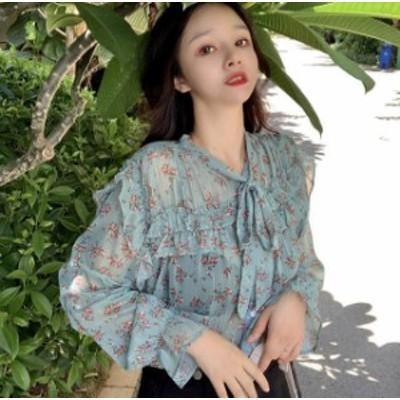 2色 花柄 ブラウス トップス シアー シースルー セクシー フェミニン 大人可愛い レトロ 韓国 オルチャン ファッション