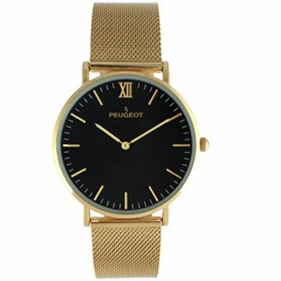 Peugeot Mens Ultra Slim Minimalist Watch 40mm Wrist Watch for Men with Stainless Steel Black Mesh Band and Easy to Read Dia