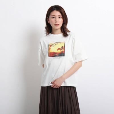 デッサン Dessin 【CLASSY.6月号掲載/XS~L/洗える】フォトプリントTシャツ (アイボリー)