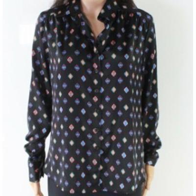 ファッション トップス Designer Brand NEW Black Womens Size Small S Geo-Print Button Down Shirt #470