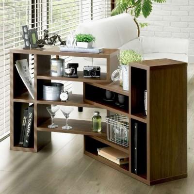 ディスプレイラック オープンラック 伸縮 本棚 シェルフ 幅90cm〜130cm 木製 L型 収納ラック 日本製 4段 ユニット かっこいい カフェ