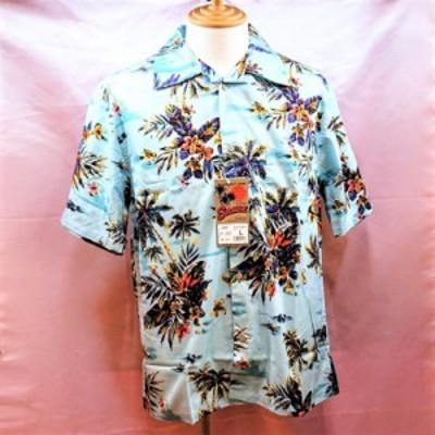 アロハシャツ ライトブルー 綿100% ボタニカル柄 半袖 開襟