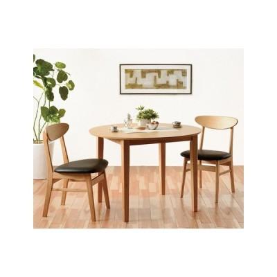 【ブルック】 ダイニング3点セット  ダイニングテーブル(100幅/3人掛け用) 円卓/丸テーブル 5299321