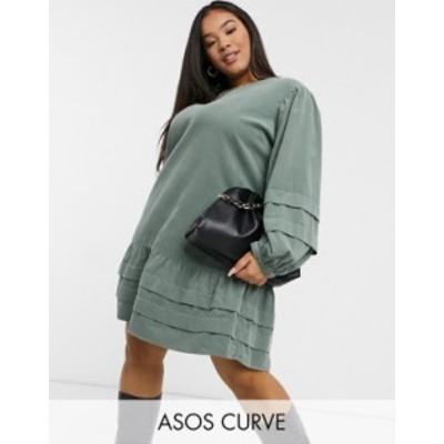 エイソス レディース ワンピース トップス ASOS DESIGN Curve mini pleat detailed smock dress in green Green