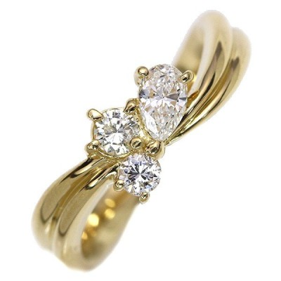 ダイヤモンド 0.46カラット リング/指輪 K18 肉厚アーム 3ピースが寄り添う /白・透明(ホワイト)/中古/届5/ギフト プレゼント