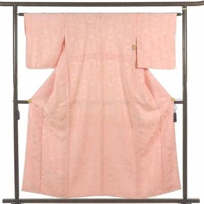 リサイクル着物 色無地 正絹ピンク地五三の桐紋入袷色無地