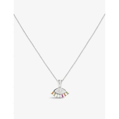 アストリッド&ミユ ASTRID & MIYU レディース ネックレス Iris Rhodium-Plated Sterling-Silver And Cubic Zirconia Stone Pendant Necklace SILVER
