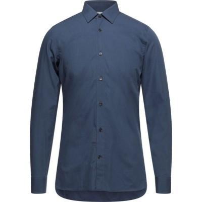 マウロ グリフォーニ MAURO GRIFONI メンズ シャツ トップス solid color shirt Slate blue