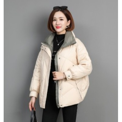 ダウンジャケット レディース ミディアム丈 大きいサイズ ゆったり ホワイト グレーグリーン ブラック ビッグシルエット オーバサイズ レ