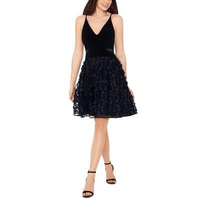 エスケープ ワンピース トップス レディース Appliqué Mesh Fit & Flare Dress Black