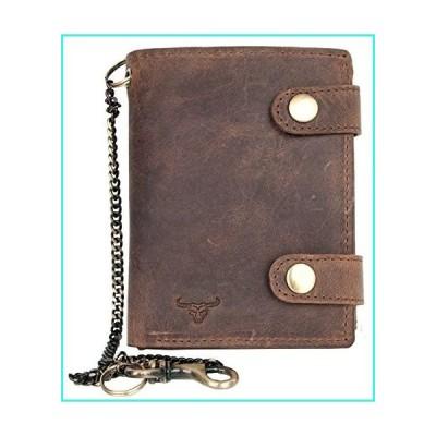 【新品】Men's Genuine Leather Biker's Wallet with Two Buckles and Metal Chain with a Bull Head(並行輸入品)