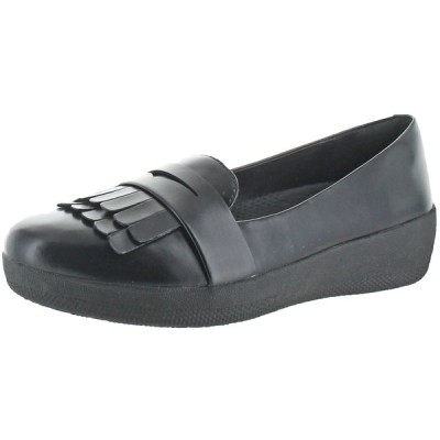フラットシューズ フィット フロップ FitFlop Women's Fringey Sneakerloafer Leather Slip On Shoes