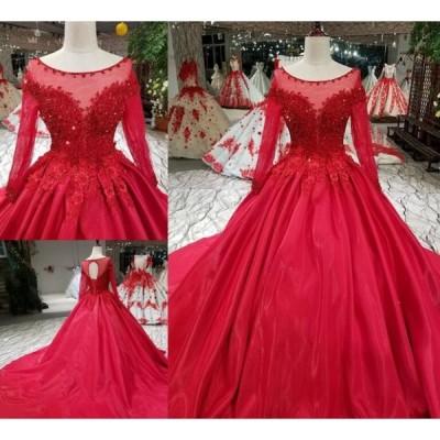 サイズオーダー品 ウェディングドレス 結婚式 披露宴 二次会 パーティードレス 優雅プリンセスドレス 可愛い刺繍 アンピール ウエディングドレス