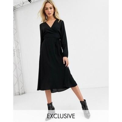 ニュールック レディース ワンピース トップス New Look long sleeve wrap midi dress in black