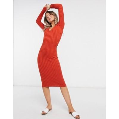 フレンチコネクション レディース ワンピース トップス French Connection long sleeve knitted midi dress in rust