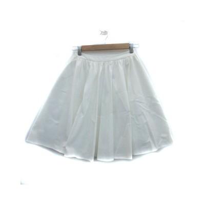 【中古】アクアガール aquagirl スカート フレア ギャザー ひざ丈 無地 36 白 ホワイト /YS21 レディース 【ベクトル 古着】