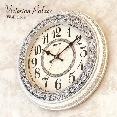 時計 掛け時計 壁掛時計 無音連続秒針付 ビクトリアンパレス ウォールクロック ラウンドWH 送料無料