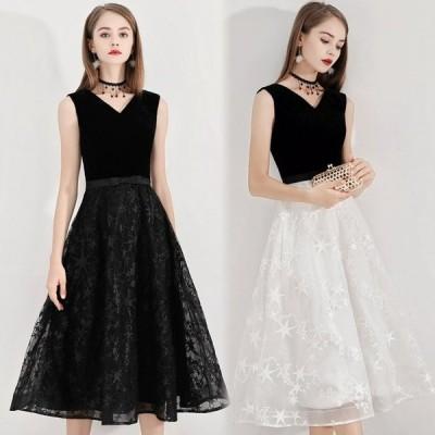 パーティードレス ミモレ丈 ノースリーブ Aラインドレス 二次会ドレス お呼ばれドレス 20代 30代 黒 白 イブニングドレス 30代 40代 50代