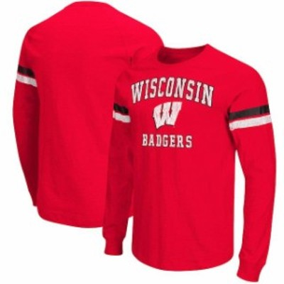Colosseum コロセウム スポーツ用品  Colosseum Wisconsin Badgers Red Huddle Up II Striped Long Sleeve T-Shirt