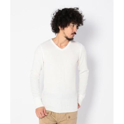 (AVIREX/アヴィレックス)デイリー ロングスリーブ サーマル Vネック ティーシャツ/ DAILY L/S THERMAL V-NECK T-SHIRT/メンズ OFF/WHITE