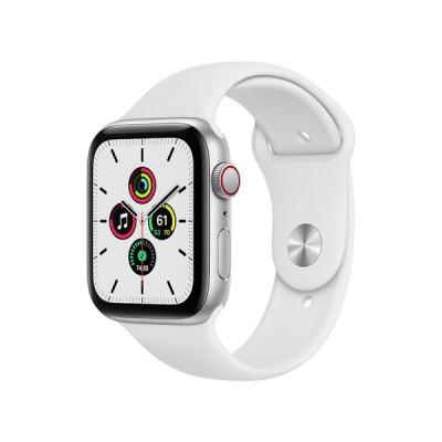 Apple Watch SE GPS+Cellularモデル 44mm シルバーアルミニウムケースとホワイトスポーツバンド レギュラー MYEV2J/A