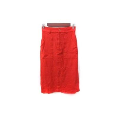 【中古】ウィムガゼット Whim Gazette タイトスカート ミモレ ロング ウール 38 赤 レッド /YI レディース 【ベクトル 古着】