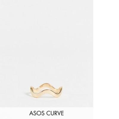 エイソス レディース 指輪 アクセサリー ASOS DESIGN Curve ring in wave design in gold tone Gold