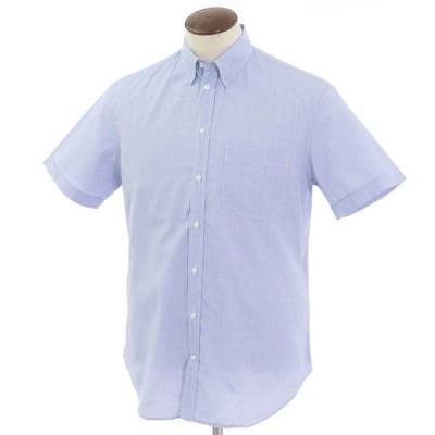 アルマーニコレツィオーニ ARMANI COLLEZIONI コットン スナップダウン 半袖シャツ ホワイト×ブルー 41