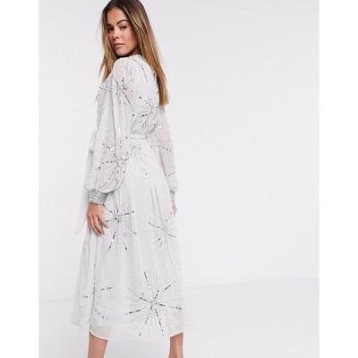 フロック レディース ワンピース トップス Frock and Frill embellished midi dress in silver gray Silver gray