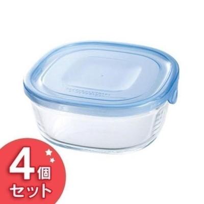 保存容器 ガラス Iwaki NEWパック&レンジ 450ml(4個セット) アクアブルー KBT3240BLN AGCテクノガラス (D)