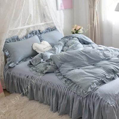 姫系 布団カバー フリル付き シングル セット 掛け布団カバー かわいい 枕カバー 寝具カバー ベッドスカート ベッドカバー おしゃれ シンプル 肌に優しい