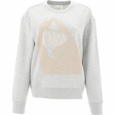 クロエ Chloe レディース ニット・セーター トップス Cotton Sweater With Logo Gray