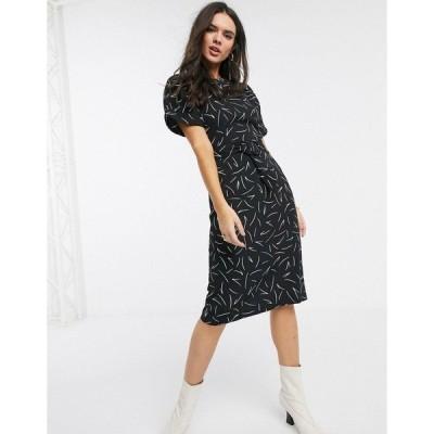 ウエアハウス レディース ワンピース トップス Warehouse linear print shift dress in black Black