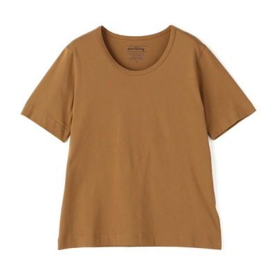 ログイン レディース earthling オーガニックコットン クルーネックTシャツ ブラウン M