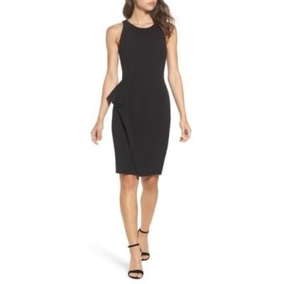 エリザジェイ レディース ワンピース トップス Embellished Ruffle Sheath Dress BLACK