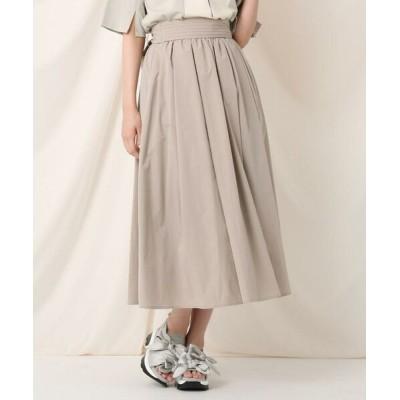 Couture Brooch/クチュールブローチ タックリボンタイプライターフレアスカート ライトベージュ(051) 40(L)