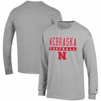 Champion チャンピオン スポーツ用品  Champion Nebraska Cornhuskers Gray Football Lockup Long Sleeve T-Shirt