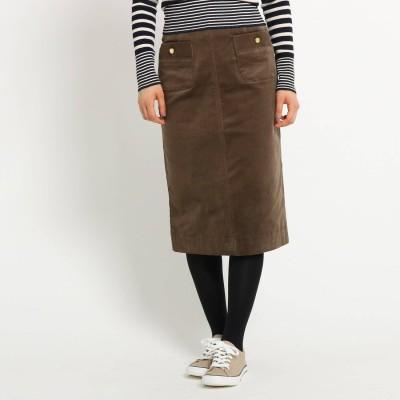 デッサン Dessin ボタンポケットコーデュロイタイトスカート (タバコブラウン)