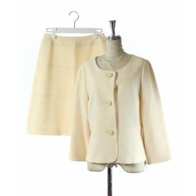 【中古】ストロベリーフィールズ セットアップ 上下 スーツ フォーマル ジャケット スカート 膝丈 台形 クリーム色 2
