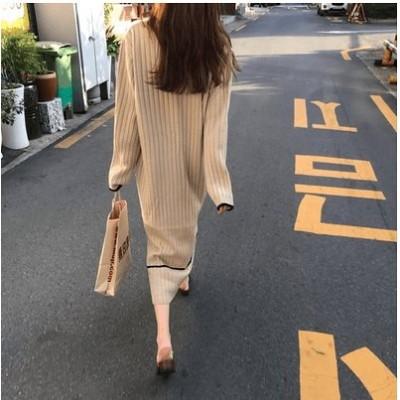 新作限定SALE!! ロングワンピース リーブ  ニットフリーサイズ ワンピース 大人気 おしゃれ 着痩せ 無地  韓国ファッション