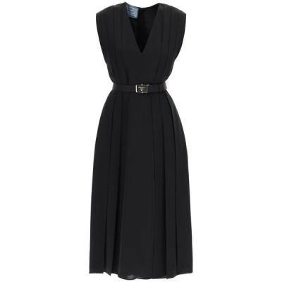 プラダ レディース ワンピース トップス Prada Fluid Twill Belted Midi Dress -