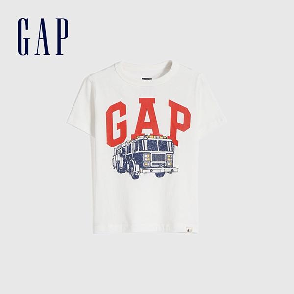 Gap男幼童 布萊納系列 Logo童趣圓領短袖T恤 671201-白色
