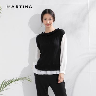 【MASTINA】假兩件花邊襯衫搭配-針織衫 (三色/魅力價格)