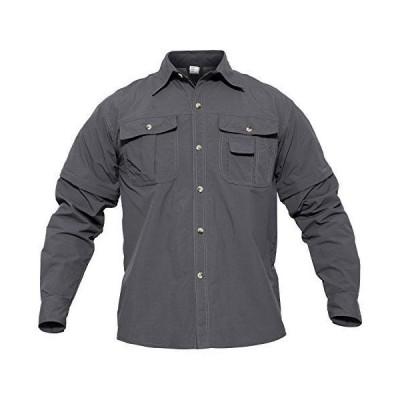 作業シャツ 長袖シャツ ワークシャツ 速乾性 カジュアルウェア 登り コンバット 取り外し可能 コンバーチブル 夏 薄手 グレー L