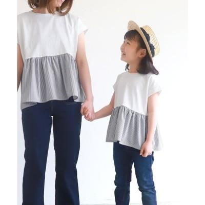tシャツ Tシャツ キッズ 裾ストライプドッキングトップス
