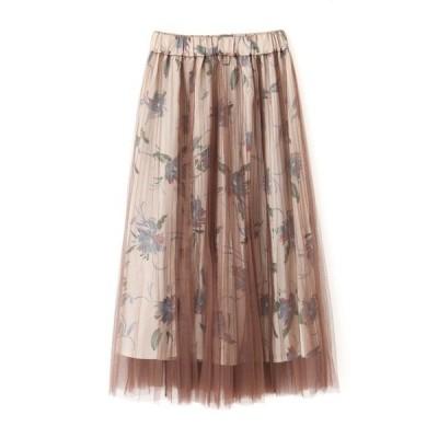 スカート ◆チュールレイヤード花柄スカート