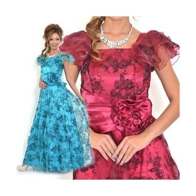 肩オーガンジーフロッキードレス Nv18