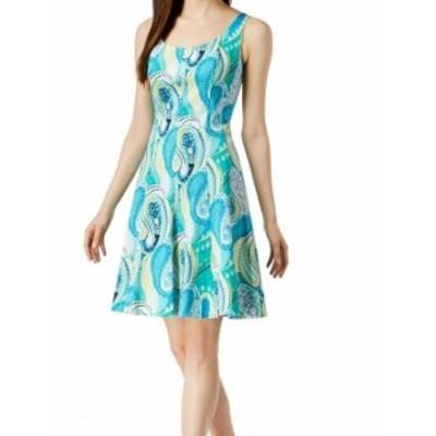 ファッション ドレス Pappagallo NEW Blue White Womens Size 6 Scoop Neck A-Line Dress